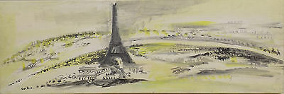 """Abstract Paris Landscape view with Eiffel tower""Oil/Lwd. sign Calix - France"