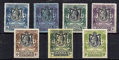 Gambia 1922-29 values 2s to 10s MLH/NH