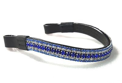 New BLING! Designer Look U clear/Blue/Turquoise crystal  Browband BLACK on offer