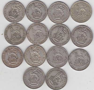 1921 To 1936 George V Shillings In Good Fine Or Better Condition