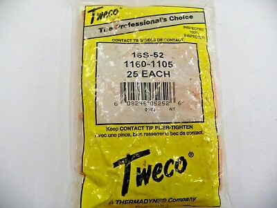 25 Pc TWECO 16S-52 MIG WELDING CONTACT TIPS  NEW   C142