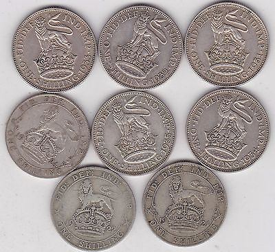 8 Shillings 1921/1922/1924/1931/1932/1933/1934 & 1935 In Good Fine Condition