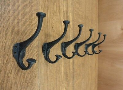 "6 BLACK ETCHED SIDE DOUBLE HOOKS 5"" ANTIQUE-STYLE RUSTIC CAST IRON wall coat hat"
