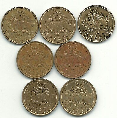 Lot Of 7 Barbados 5 Cents Coins-(2)1973,1979,(2)1988,2000,2004-May097