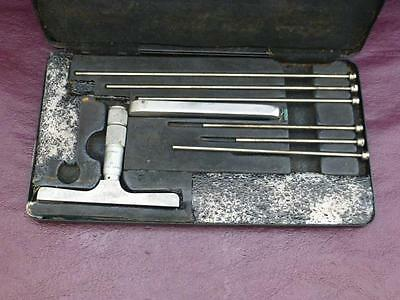 Vintage Moore & Wright  Depth Gauge Micrometer with 6 x Rods in Case