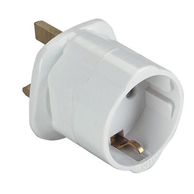 EU Euro Europe European to UK England English Travel Adapter Plug w/ CE Approved