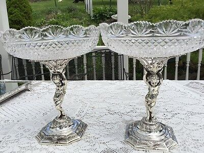 Pair of  English Victorian Silver Cherub Stands with Cut Glass Bowls