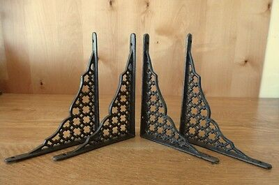 "Set Of 4 Brown Shelf Brackets 9"" Antique-Style Rustic Cast Iron Garden Lattice"