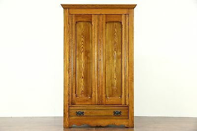 Victorian Eastlake 1890 Antique Oak & Ash Armoire, Wardrobe or Closet