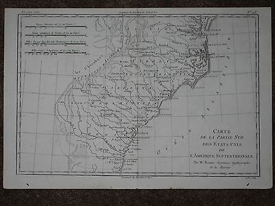 1780 Georgia Carolina Virginia Antique Map Rigobert Bonne  Original!