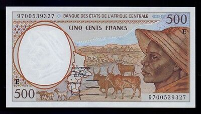 B-D-M Central African St. Camerún Cameroon 500 francs 1997 Pick 201Ed UNC
