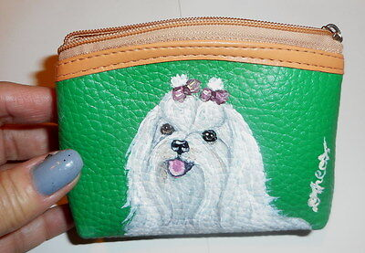 Maltese Dog Hand Painted Leather Coin Purse Vegan Mini wallet