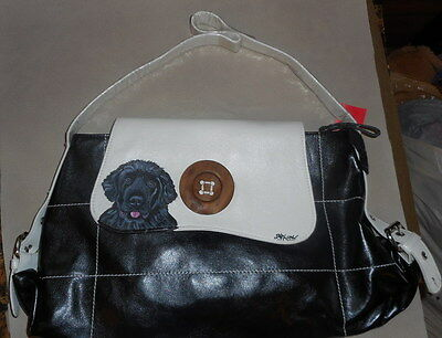 Newfoundland Dog Hand Painted leather Handbag shoulder Bag Purse