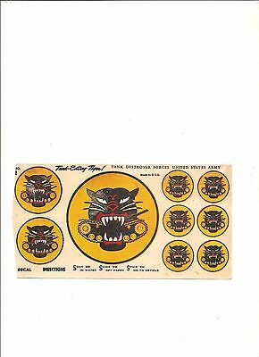 Vintage decal sheet Tank Destroyer Forces United States Army