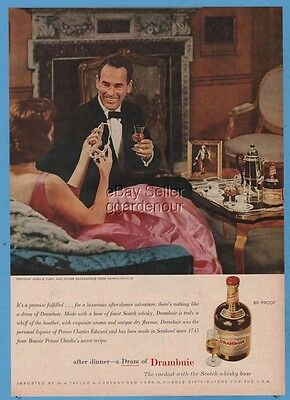 1960 Drambuie Liqueur Whisky Whiskey Vintage Bottle Neiman Marcus Jewels Furs Ad