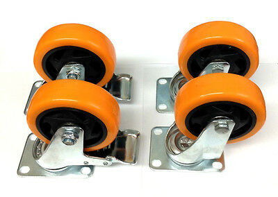 """Lot of (4) 4"""" Caster All Swivel Plate Orange Polyurethane with Two Brake Wheels"""