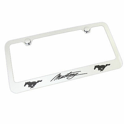 ford mustang script chrome brass license plate frame 29 95 picclick 2012 Mustang Trunk Lid ford mustang script dual logo chrome brass license plate frame