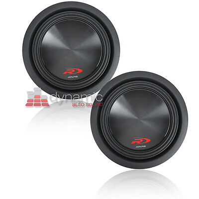 "Two (2) ALPINE SWR-8D4 Car 8"" DVC 4-Ohm Type-R Audio Subwoofers 2,000W Subs New"