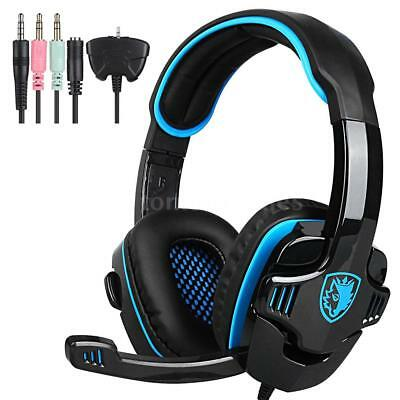 SADES SA-708GT Stereo Gaming Headset Over Ear Headphone Earphone +Mic For PC PS4