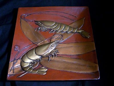 Japanese Vintage Metal Relief Square Dish Lobster & Bamboo Leaves Artist Stamped