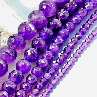 """Natural Purple Amethyst Faceted Round Spacer Beads15"""" 3 4 6 8 10mm Free Shipping"""