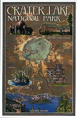 Bears In Oregon Map.Crater Lake National Park Oregon Wizard Island Bears Lodge Modern