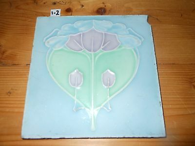 One Antique Arts and craft tile Art Nouveau Sherwins blue green 6x6 1 of 2