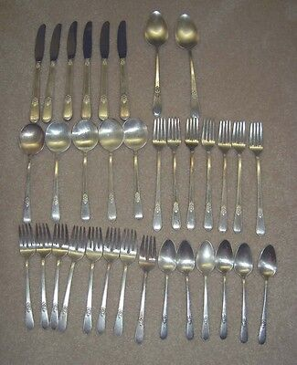 "1847 Rogers Bros ""ADORATION"" Pattern 34 Pieces Mixed Lot Silverplated Flatware"