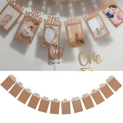 1-12 Months Baby's 1st Birthday Photo Frame Shower Bunting Banner Party Decor#B