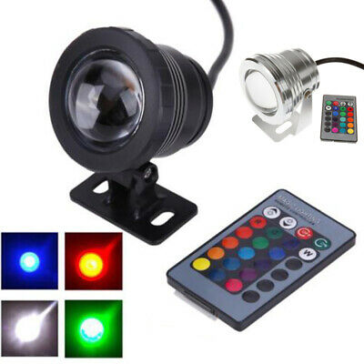 10W 12V RGB LED Underwater Spot Light IP65 Waterproof Pond Aquarium Lamps 2COLOR