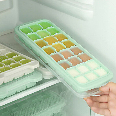 Creative Silicone Baby Food Tray Mould Mold With Lid Frozen Cube Ice Maker Tool