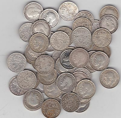 50 Silver Three Pence Coins Dated Between 1911 To 1919 In Used Fine Or Better