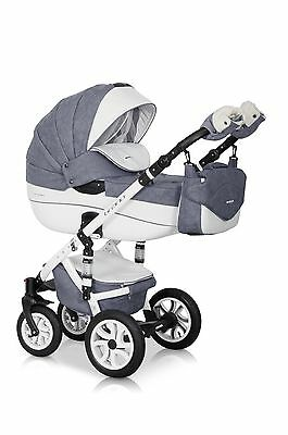 RIKO BRANO ECCO PRAM GREY STONE-17 3in1  CARRYCOT + PUSH CHAIR + CAR SEAT