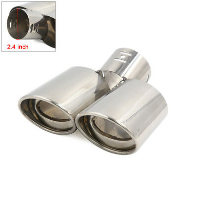 Universal Chrome Stainless Steel Exhaust Pipe Tail Muffler Dual Tip 60mm Inlet