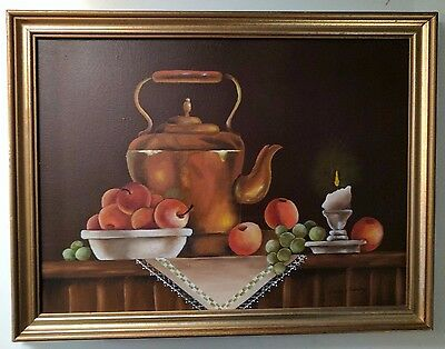 Fine Art Original Signed Primitive Naive Oil Painting Still Life with Fruit