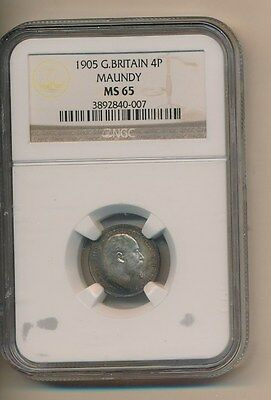 Great Britain - Silver Maundy 1905 Ngc Ms65 - Certified