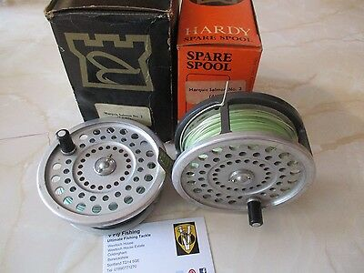 Vintage Hardy Marquis Salmon Number 2 Fly Reel & Spool with Lines & Boxes