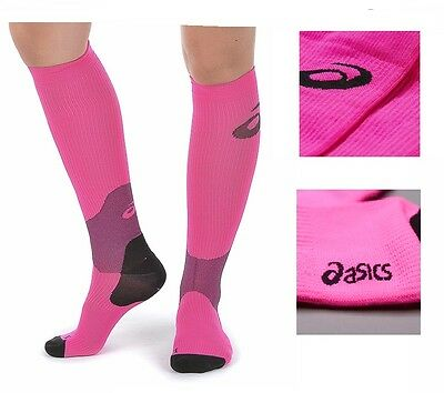 Womens 2 Pack asics Compression Running Sports Sock Jogging Pink Small Medium