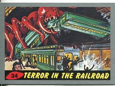 Mars Attacks Heritage Silver Parallel Base Card #34    Terror in the Railroad