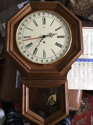 "Vintage Ridgeway 31 Days Wall Clock  West Germany 26"" Works Manual Wind With Key"