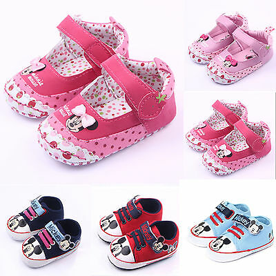 Kids Baby Girls Boy Soft Prewalker Boots Minnie Mouse Pram Shoes Toddler Sneaker