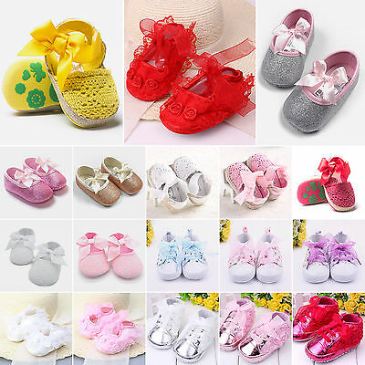 Baby Girls Boys Prewalker Shoes Sandals Toddler Soft Lace Up Princess Trainers