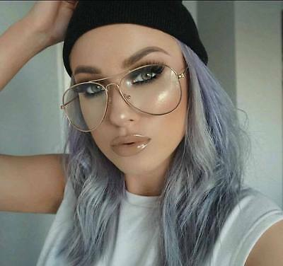 Clear Gold Aviator Round Glasses Pilot Retro Vintage Celeb  ** Free Case **   X