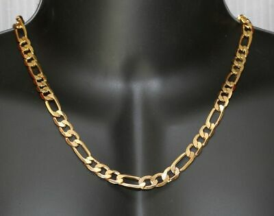 Men's 18k Gold Plated 7mm Italian Figaro Link Chain Necklace 24 Inches Gift