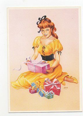 #O3 - Lady in Yellow Dress With Presents - New York Cards Postcard