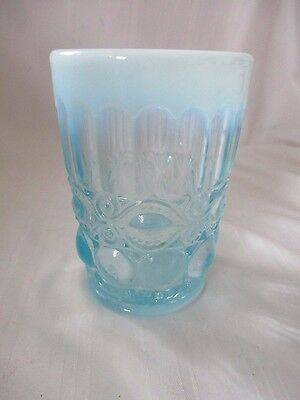 Mosser art glass tumbler Eyewinker light aqua blue original sticker moonstone