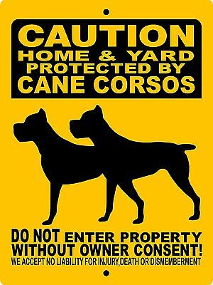 "CANE CORSO DOG SIGN,Guard Dog,9"" x12"" Aluminum Sign,Security Sign,Dog Sign"