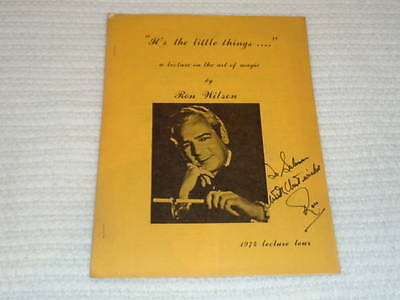 Signed Ron Wilson 1974 Lecture Tour Notes Vintage Booklet Art of Magic