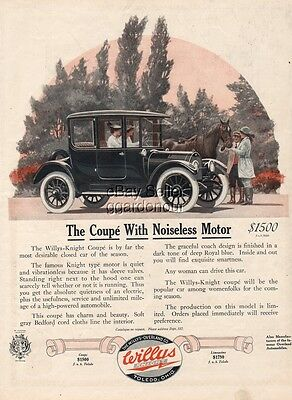 1915 Willys Knight Coupe Overland Toledo OH Ohio vintage car Auto print Ad