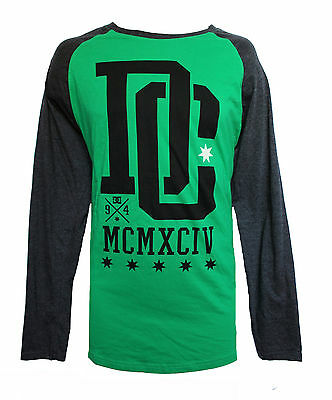 New Dc Shoes Mens Guys Graphic T Shirt Baseball Raglan Blouse Crew Tee Top Sz L